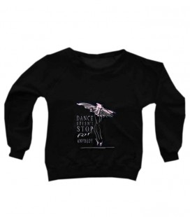 "SUDADERA ""DANCE DOESN'T STOP"" NEGRO-ROSA"