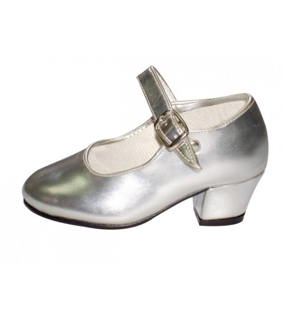Zapatos Plateados Tacón