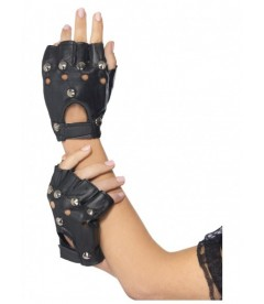 GUANTES PUNK NEGRO CON REMACHES